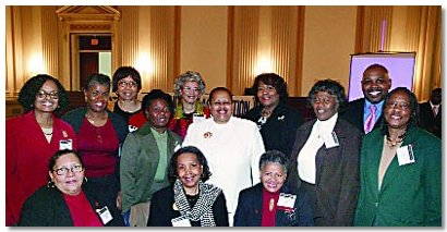 Members of the The Washington, D.C., Area Black Nurses Association attended the 17th Annual National Black Nurses Day on Capitol Hill. Seated: Kathy Williams; Patricia Tompkins; Dr. Veronica Clarke-Tasker, professor, Howard University, Division of Nursing and President, Greater Washington, D.C., Area Black Nurses Association. Standing: Dr. Eleanor Walker; Novella Jackson; Margaret Pemberton; Margaret Nelson; Judy Poole; Millicent Gorham, NBNA Executive Director; Velma Henderson, Chief Nursing Officer, Howard University Hospital; Lillian Wade; Eugene Allen; Mary Cromartie.
